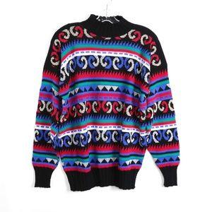 Vintage 80s 90s grandpa sweater geometric oversize